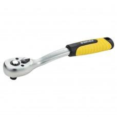 """Ключ-трещотка с изогнутой ручкой 3/8"""" 200мм 72T CrV Sigma (6050081)"""
