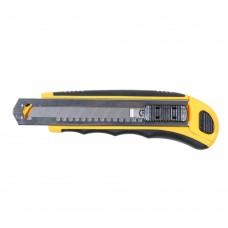 Нож строительный (пластик/резина корпус) лезвие 8шт 18мм автоматический замок Sigma (8211121)
