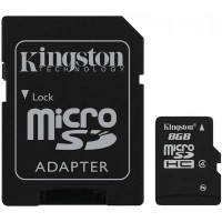 Карта памяти microSDHC Kingston 8Gb class 4 (adapter SD)